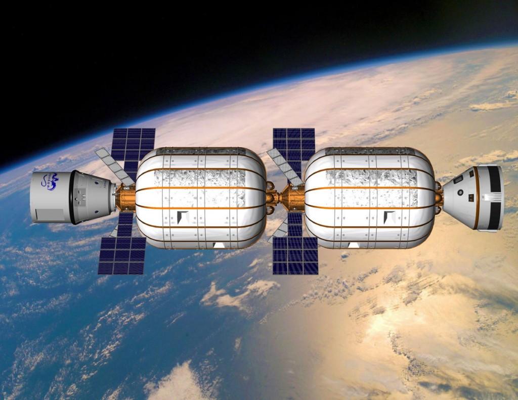Concept de station réalisée à partir de modules gonflables et desservie par des capsules commerciales Dragon et Starliner. Crédit : Bigelow Aerospace.