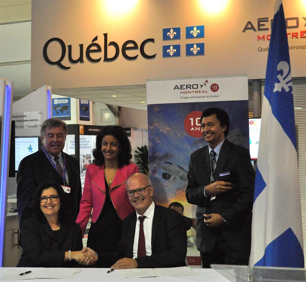 Signature d'un accord entre AeroMontreal et Aerospace Valley FIA 2016 - crédit : C. Bruneau pour Aerospatium