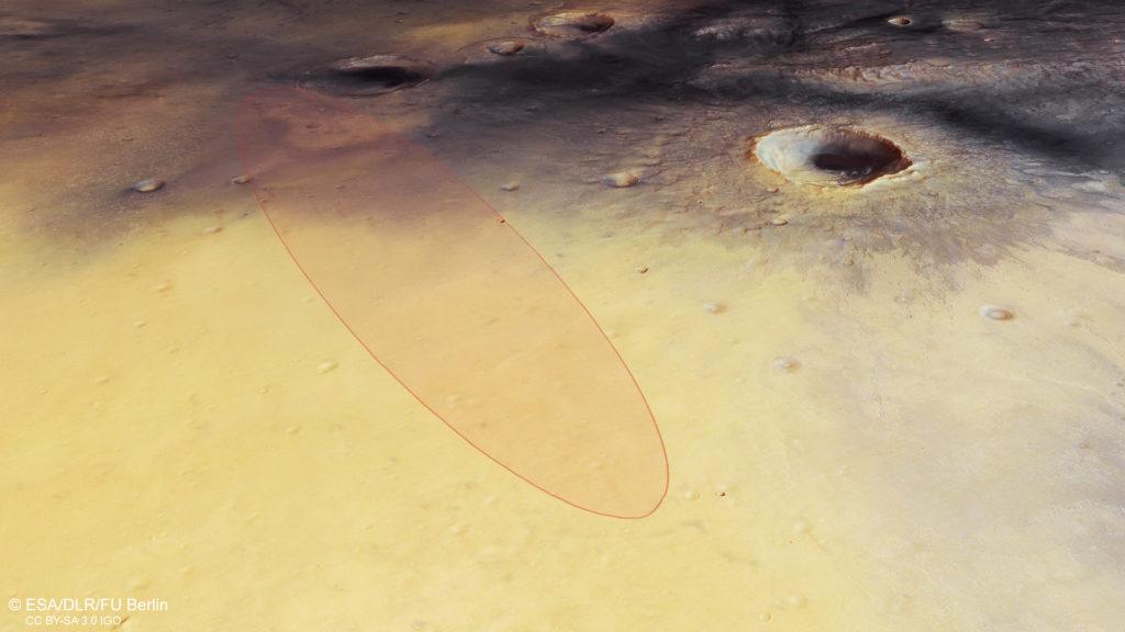 L'atterrisseur Schiaparelli vise le centre de cette ellipse de 15 x 100 km dans la région de Meridiani Planum. Crédit : ESA.